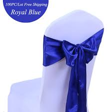 royal blue chair sashes 100pc lot wedding decoration chair sashes ivory royal blue satin