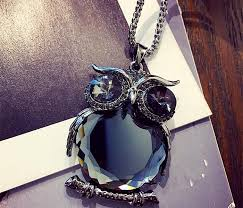 crystal owl pendant necklace images Long owl necklace silver blue gemstone extended chain pendant jpg