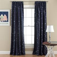 Ruffle Bottom Blackout Panel by Lush Decor Star Blackout Window 84 Inch Curtain Panel Pair Navy