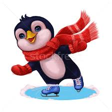 merry christmas l post season s greetings with penguin ice skating merry christmas and