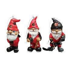 calgary flames 3pk gnome ornament set sport army