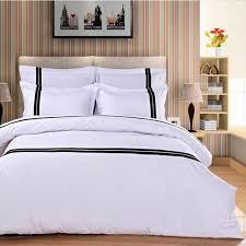 Hotel Quality Comforter Aliexpress Com Buy Fashion Hotel Bedding Set White 4pcs Black