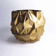 modernist desk planter golden bowl abstract gold art gold pot