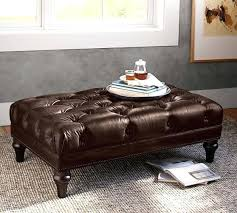 large leather tufted ottoman leather tufted ottoman coffee table large butler square cvid