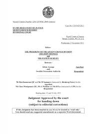 Queen S Bench Division Uk High Court Decision Assange V Swedish Prosecution Authority