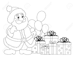 santa claus line art with gifts and balloons for kids coloring