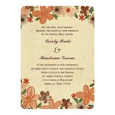 retro rust orange flowers catholic wedding card zazzle