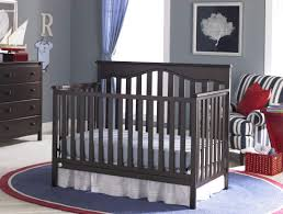 Round Convertible Crib bedroom espresso transitional wood convertible crib with bedding