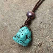 pendant necklace turquoise images Aobei pearl handmade pearl necklace with turquoise pendant and jpg