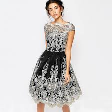 vintage women floral lace short sleeve evening cocktail party
