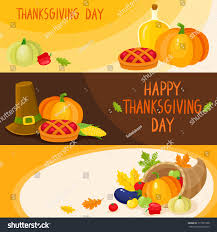set thanksgiving day banner templates symbols stock vector 717321058