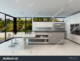open plan modern kitchen tropical villa stock illustration
