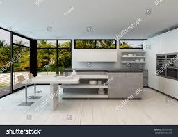 open plan modern kitchen tropical villa stock illustration