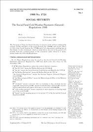 si e social but social fund cold weather payments general regulations 1988