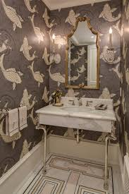 Powder Room Wallpaper by Powder Room Featuring Koi Wallpaper And Custom Marble Mosaic Floor