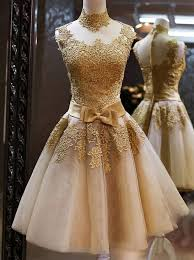 buy elegant high neck gold tulle knee length homecoming dress with