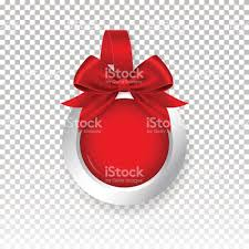 vector red round paper wobbler with red bow isolated on background