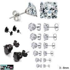 surgical steel stud earrings cubic zirconia surgical steel stud fashion earrings ebay