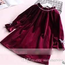girls a line dresses kids ruffle collar butterfly velvet dress