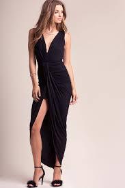 Long Draped Dress Memdalet Sleeveless Black Drape Maxi Dress W High Slit Jersey