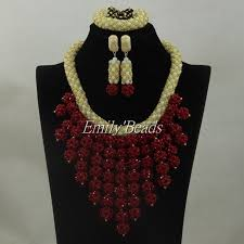 indian beads necklace images Nigerian red beads jewelry set indian bridal jewellery set african jpg