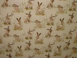 Curtain Upholstery Fabrics 1m Hares Vintage Linen Look Animal Print Designs Curtain