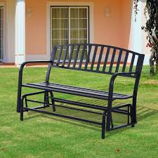 outsunny 50 u201d outdoor steel patio swing glider bench black