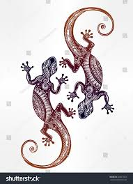 ornate gecko lizard tattoo style isolated stock vector 466073225