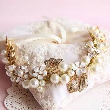 gold leaf headband gold leaf imitation pearl white flower bridal