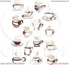 clipart of two toned tan and brown steamy coffee cup designs 2