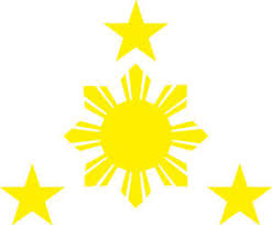 philippines and sun vinyl decal 116mm by 90 mm apr yellow