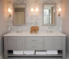 Modern Bathroom With Freestanding Gray Double Sink Vanity Topped