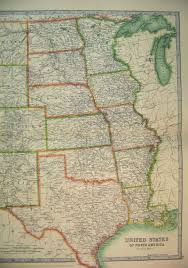 North America States Map by 7 Print 1910 Map Central United States North America Texas 605b338