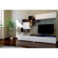 meuble tv avec étagère elit blanc et bois salon