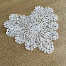 heart shaped doilies pink and white heart lace crocheted doily home decor handmade in