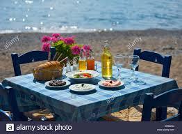 Tavern Table Set Set Table Tavern In Kato Zakros East Coast Crete Greece