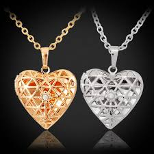 floating heart pendant necklace images Hollow heart photo locket pendants 18k gold platinum plated jpg