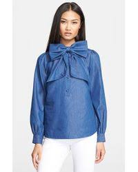 chambray blouse lyst kate spade york chambray blouse in blue