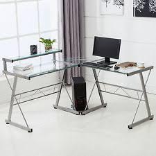Glass Desk Table Computer Desk Corner Small L Shaped Ikea Ebay