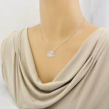 3 Initial Monogram Necklace Sterling Silver Small Sterling Silver 3 Initials Monogram Necklace 3 4 Inch Wide Sm30c
