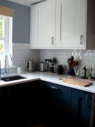 light grey dark navy blue charcoal kitchen units shaker style