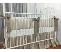 crib bedding set u2013 linen bumper trimmed with white ruffles and