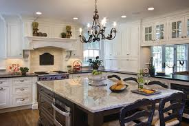 Kitchen Chandelier Lighting Outstanding Light Color Granite Kitchen Traditional With Breakfast