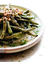 blistered green beans with crushed almonds paleo