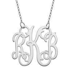 monogram necklace silver elizabeth edmonds premium sterling silver fancy 3 initial monogram