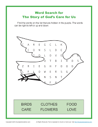 story of god u0027s care for us word search children u0027s bible activities
