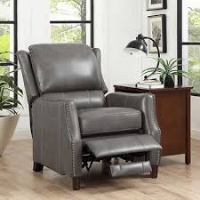 Grey Leather Recliner Henri Grey Top Grain Leather Recliner