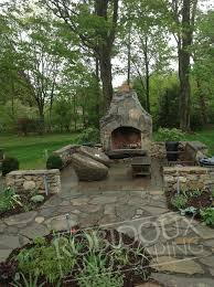 Outdoor Fieldstone Fireplace - outdoor kitchens fireplaces fire pits putting greens pool