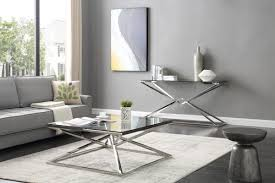 modrest xander modern glass u0026 stainless steel console table