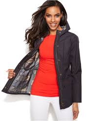 barbour outdoor hooded beadnell jacket in blue lyst